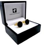 Vergoldete 18 Karat runde Manschettenknöpfe mit Onyx Stein in einer Holzaufbewahrungsbox mit 25 Jahren Garantie
