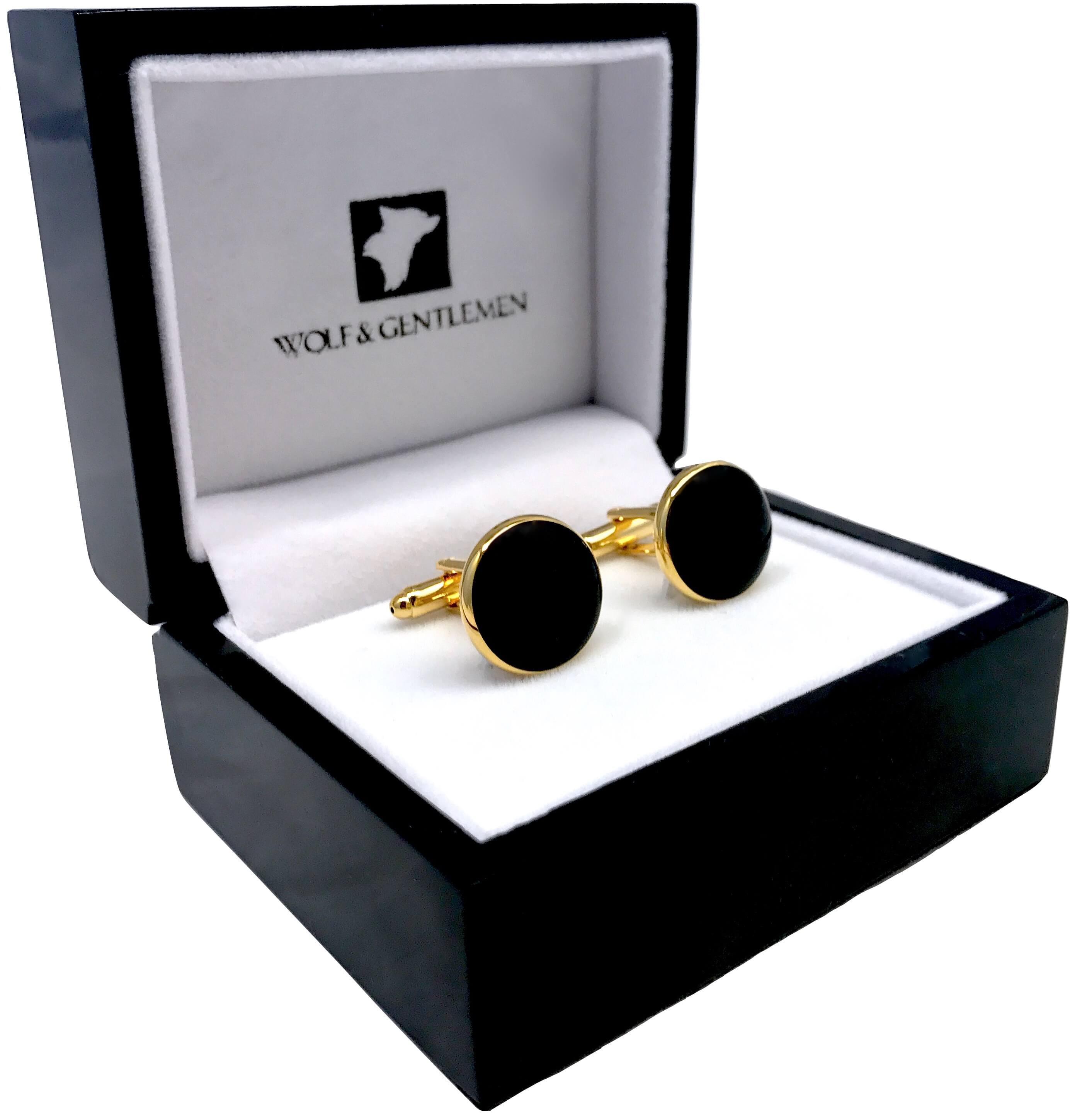 Vergoldete 18 Karat runde Manschettenknöpfe mit Onyx Stein in einer Holzaufbewahrungsbox