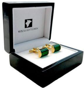 Handgefertigte vergoldete Manschettenknöpfe Modell Classic Green mit schwarzem Perlmutt Stein in Holzaufbewahrungsbox / Holzschatulle mit Pianolackbeschichtung