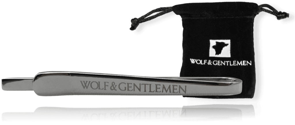"""Wolf & Gentlemen handgefertigte silberne Krawattennadel Modell """"Silver"""" mit Silber Beschichtung in Vellour Beutel im Onlineshop"""