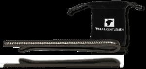 """Wolf & Gentlemen handgefertigte schwarze Krawattennadel Modell """"Black"""" mit Vellour Beutel im Onlineshop"""