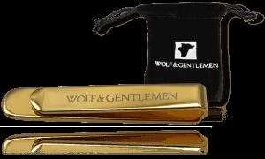"""Wolf & Gentlemen handgefertigte vergoldete Krawattennadel Modell """"Gold"""" mit Gold Beschichtung in Vellour Beutel im Onlineshop"""