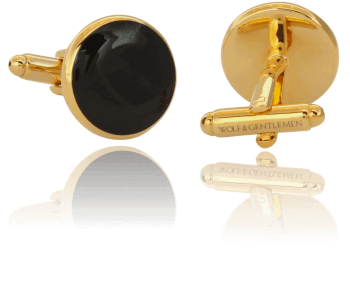 """Wolf & Gentlemen handgefertigte vergoldete Manschettenknöpfe Modell """"All Black"""" mit schwarzem Onyx Stein im Onlineshop"""