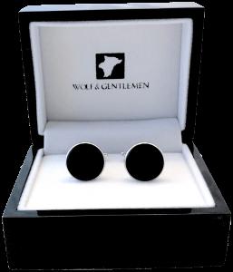 Handgefertigte versilberte Manschettenknöpfe Modell Classic Black mit schwarzem Perlmutt Stein in Holzaufbewahrungsbox / Holzschatulle mit Pianolackbeschichtung