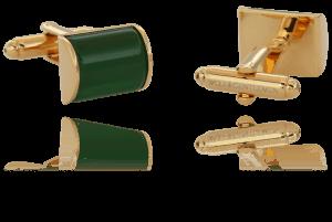 """Wolf & Gentlemen handgefertigte vergoldete Manschettenknöpfe Modell """"Classic Green"""" mit grünem Stein im Onlineshop"""