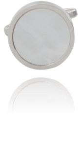 Handgefertigte versilberte Manschettenknöpfe mit weißer Perlmutt Muschel Stein Einzeln