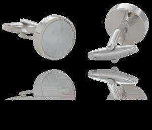 Handgefertigte versilberte Manschettenknöpfe mit Shell Muschel Perlmutt Stein im Onlineshop